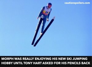 Morph was really enjoying his new sky jumping hobby until Tony Hart asked for his pencils back