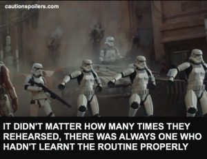 It didn't matter how many times they rehearsed, there was always one who hadn't learnt the routine properly