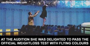 At the audition she was delighted to pass the official weightless test with flying colours