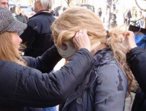 "Jo being prepared for her ""burn"" (photo: Jo Lamstein)"