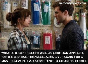 What a tool, thought Ana, as Christian appeared for the 3rd rime this week, yet again asking for a giant screw, plugs and something to clean his helmet